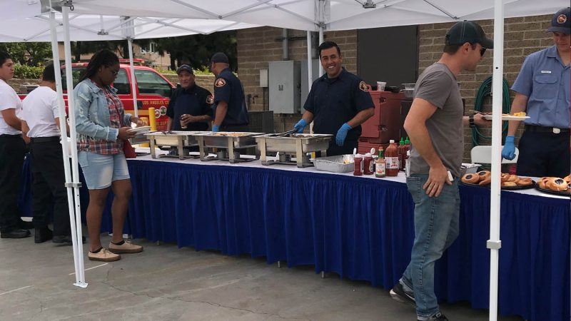 Food line at fire station 58 pancake breakfast.