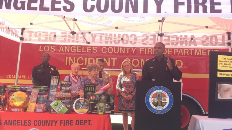 Chief Osby speaking at the Barger Fireworks news conference.