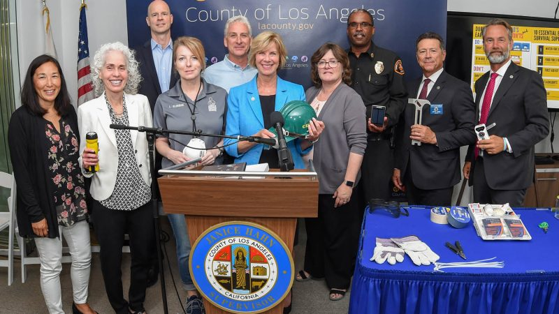 Earthquake news conference with the board of supervisors.