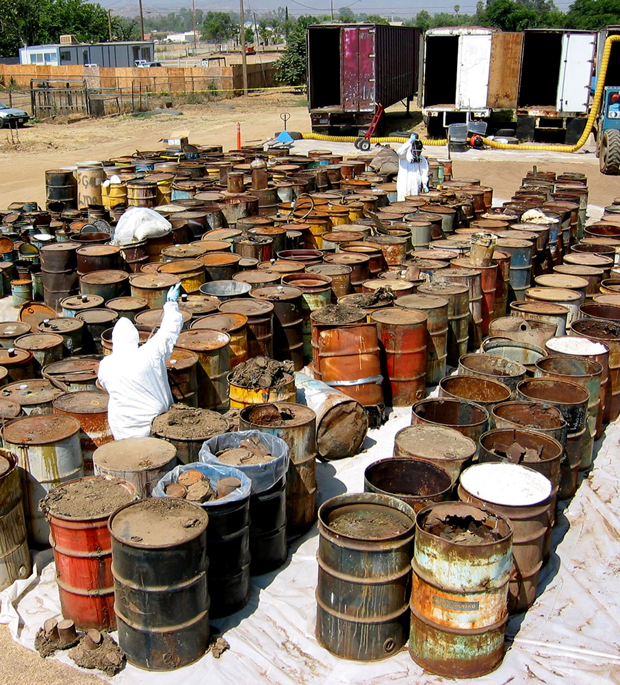 An outside holding area for barrel drums.