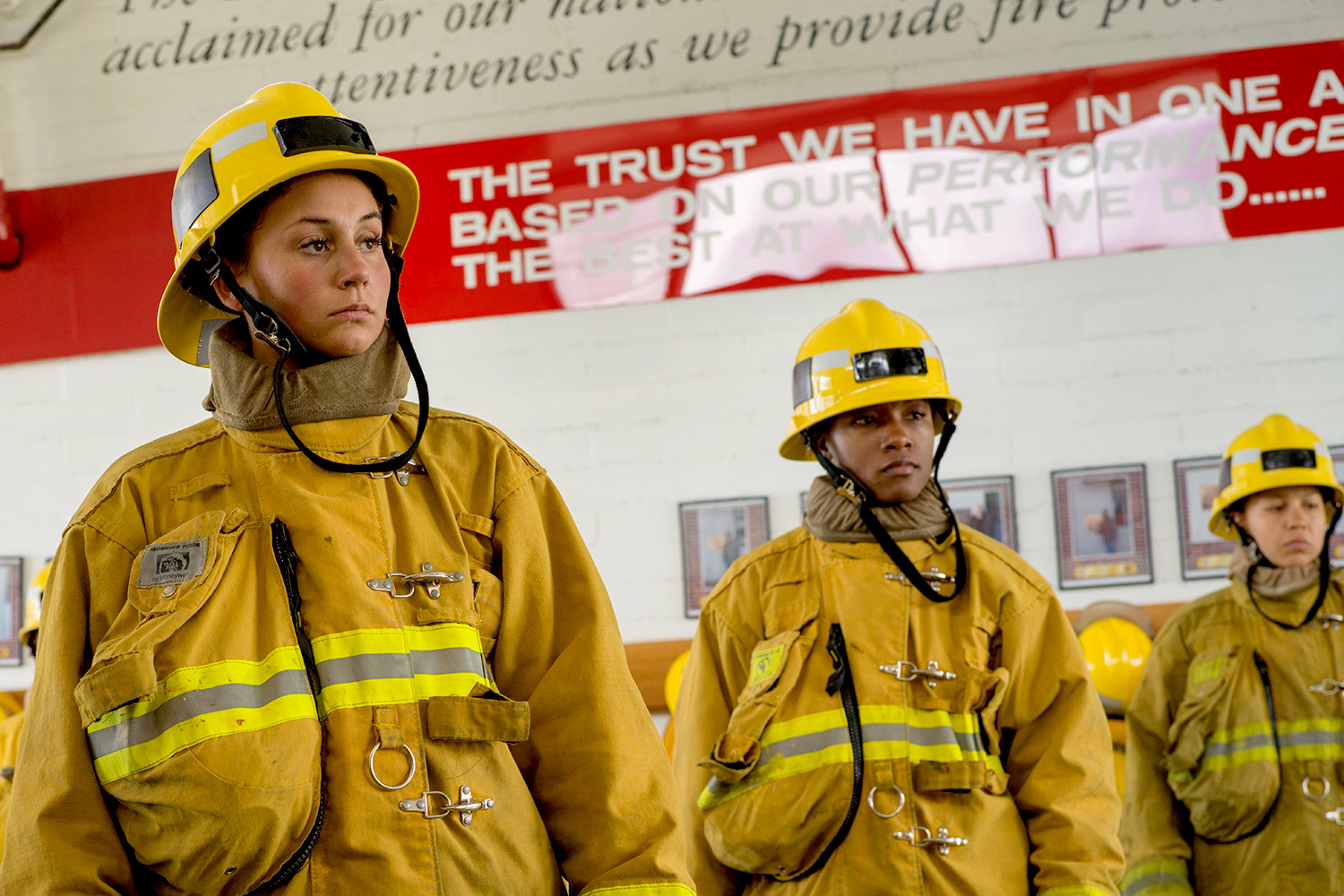 Women fire fighters ready to get to work.