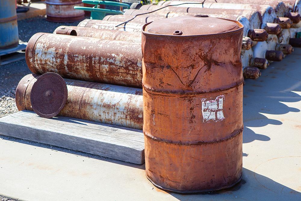 Storage barrel sitting in the sun.