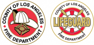 Double firefighter and lifeguard logo.