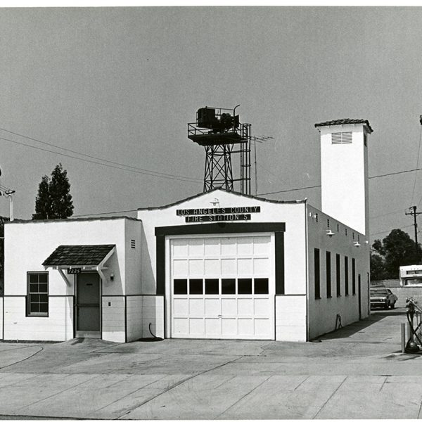 Old Fire station in black and white photo.