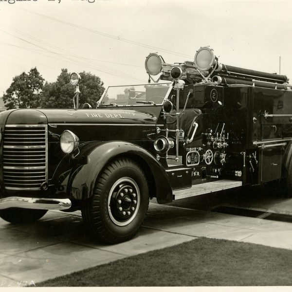 Historical photo of a fire engine.