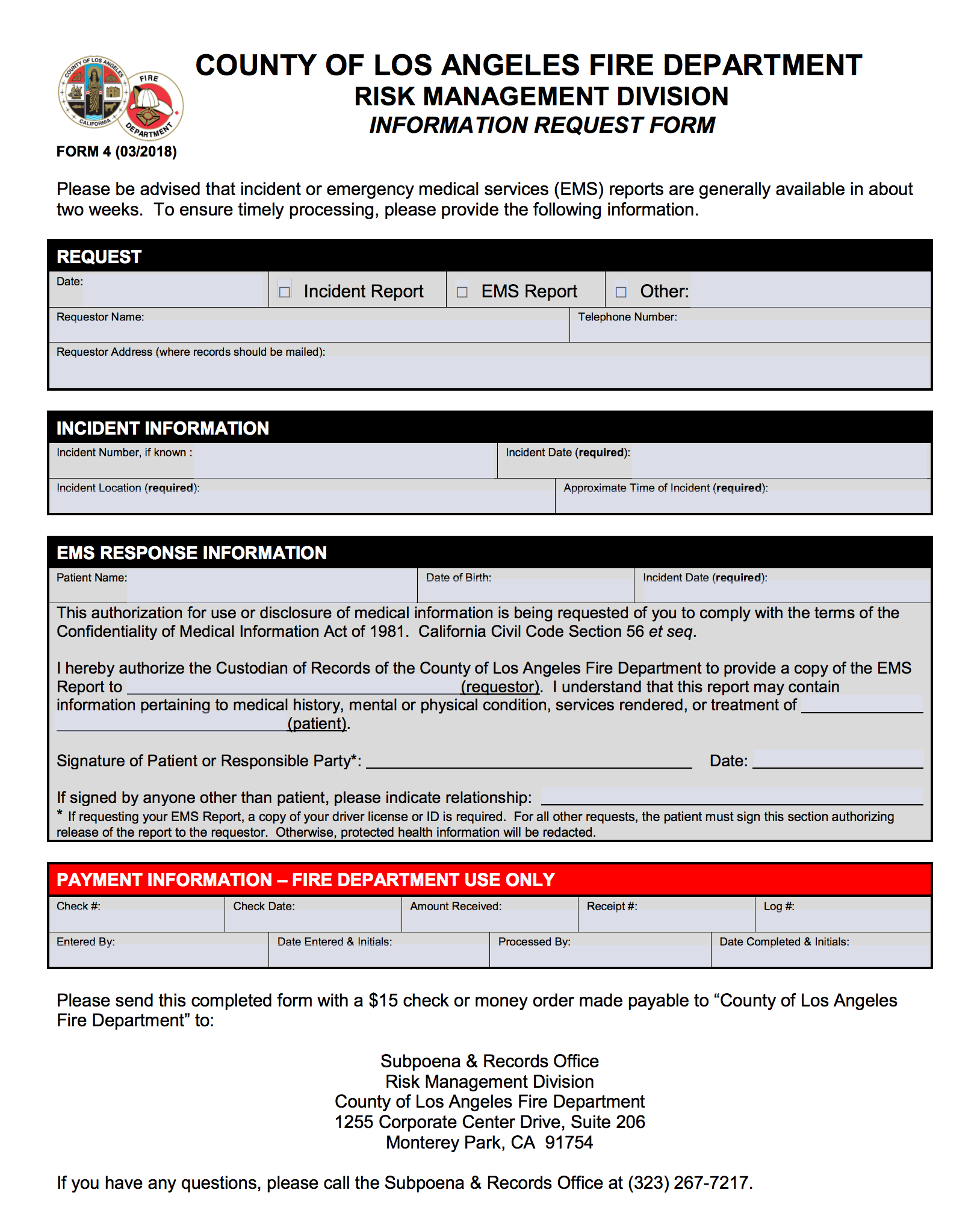Picture of the ems form.